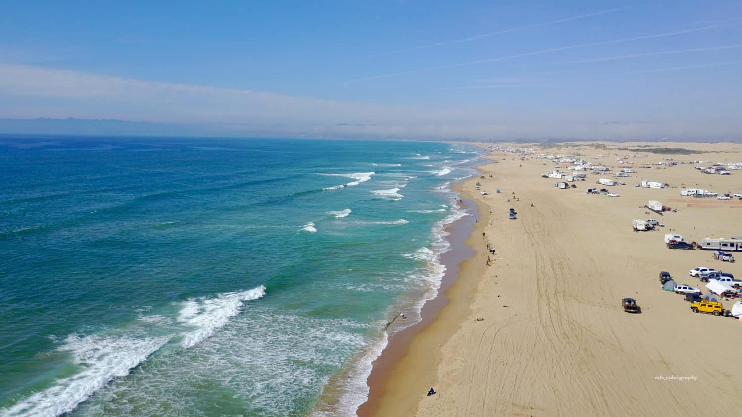 A drone shot of the action-packed celebration at Pismo Beach