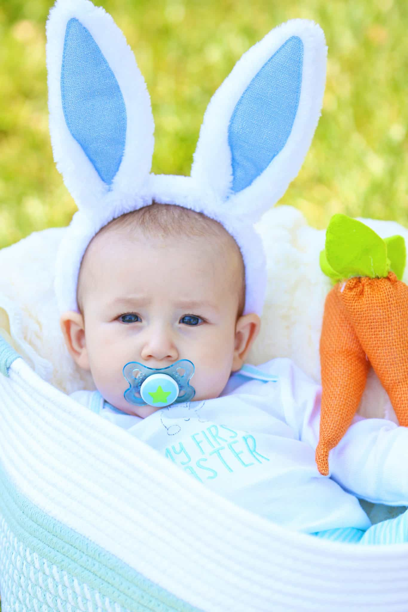 Cute baby boy Easter photo portraits