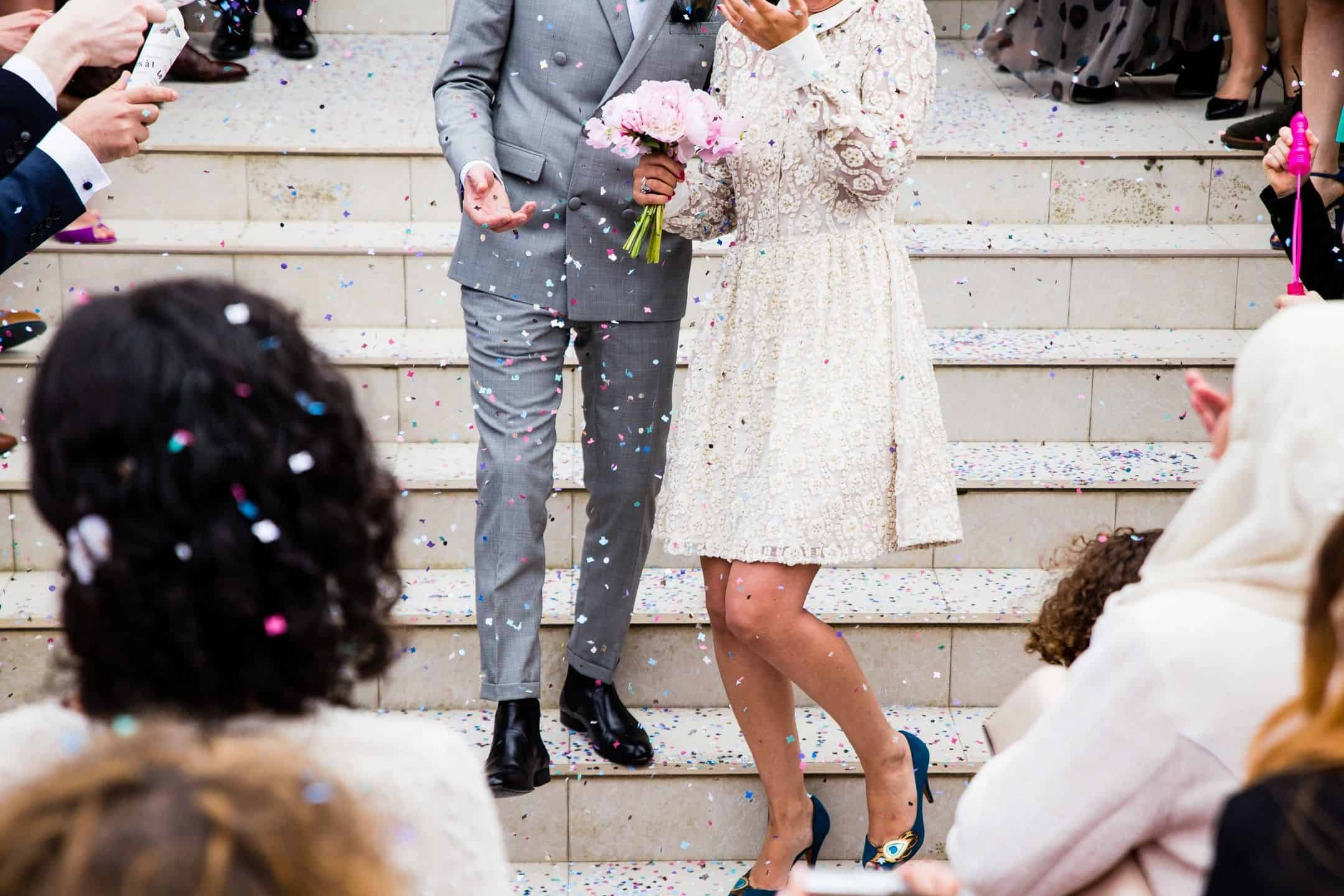 Confetti wedding celebration in Bay Area California